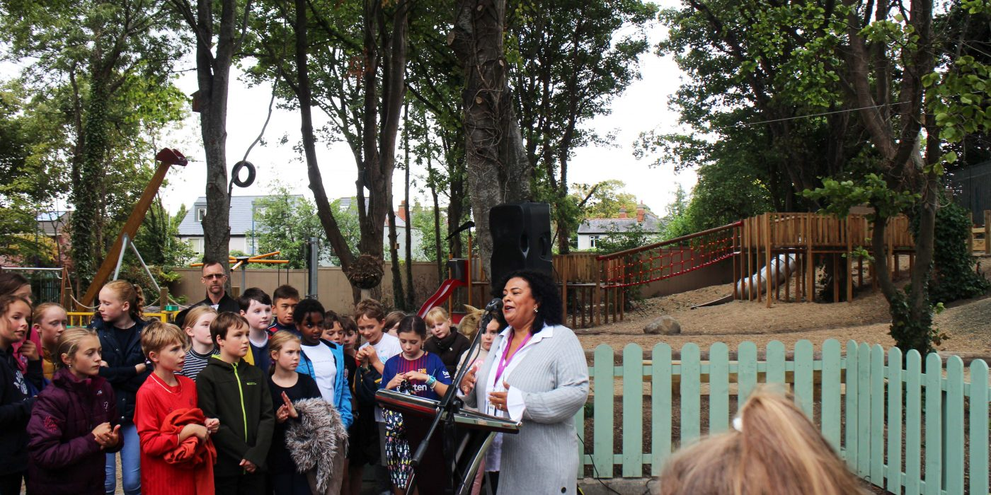 Debbie Clarke 'This park was designed by children for children' Nature Play Area Herzog Park c Roisin Byrne
