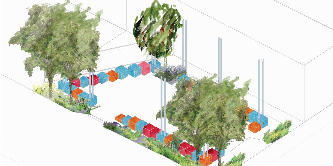 Axonometric Projection Landscape Design for Why Go Bald's Square. © Roisin Byrne