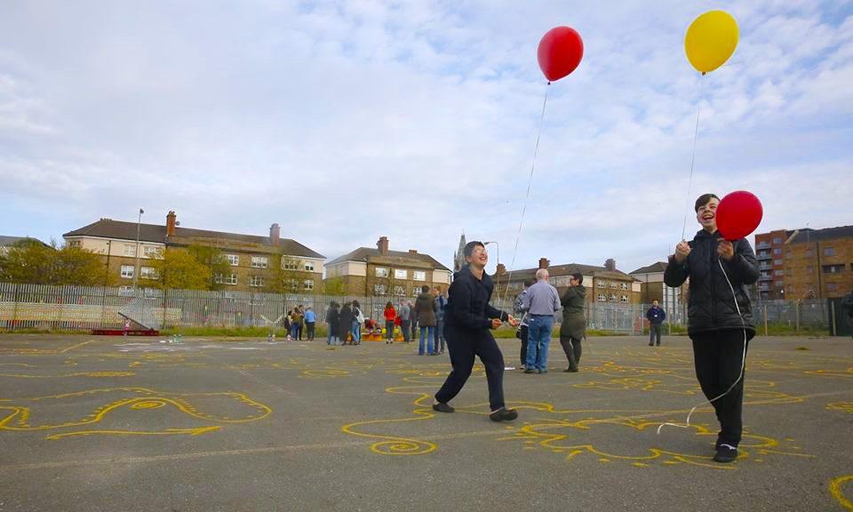 Boys With Balloons by John Rooney. Art engagement collaboration. Collaborators Roisin Byrne UCD TURAS, DCC, Bridgefoot Street Park Campaign, UCD Landscape Architecture Site Specific Elective, tutor Sophie von Maltzon