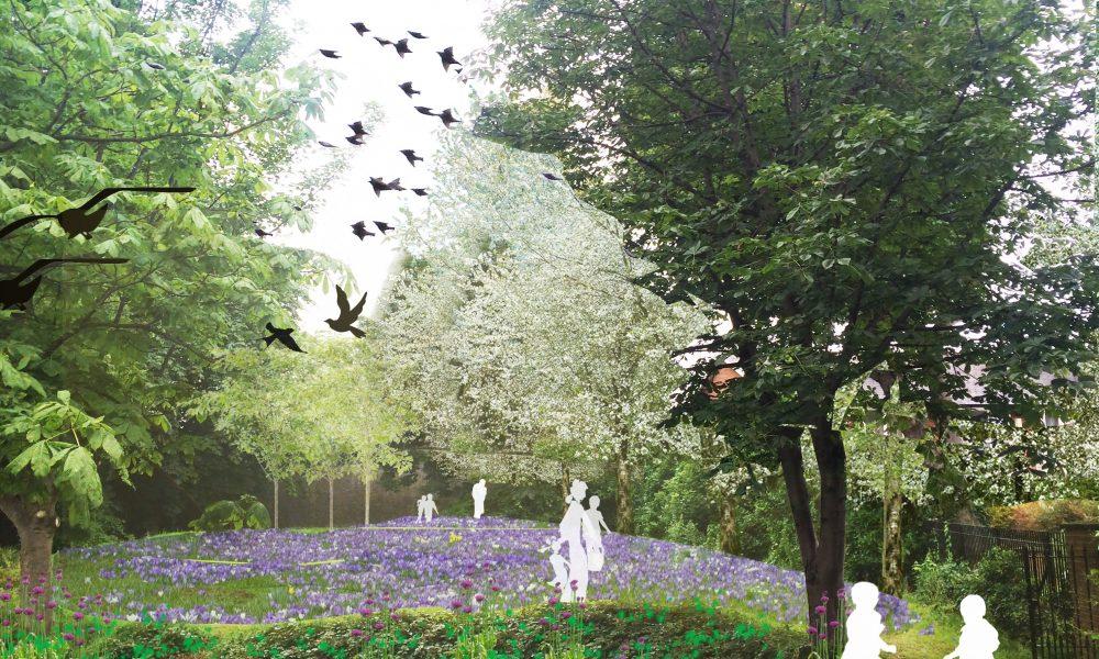 Perspective art concept of Bird Zone planting design in Ranalagh Gardens Park c Roisin Byrne