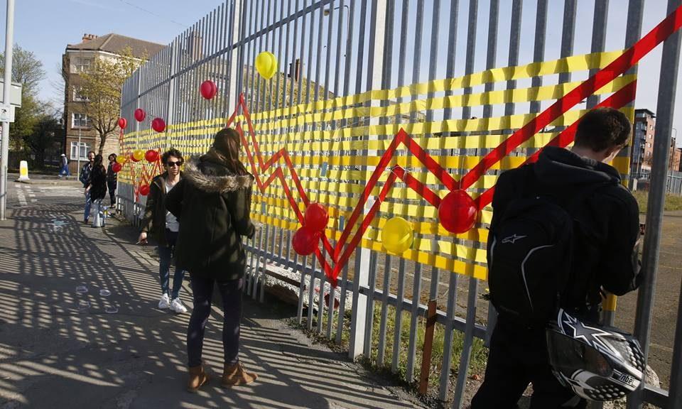 Art engagement collaboration. Collaborators Roisin Byrne UCD TURAS, DCC, Bridgefoot Street Park Campaign, UCD Landscape Architecture Site Specific Elective, tutor Sophie von Maltzon